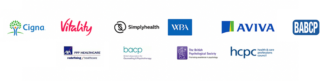We're registered with AXA PPP healthcare, AXA therapists, AXA counselling, Aviva, Vitality, Cigna, BPS, HCPC, BABCP