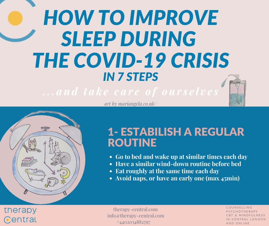 Preview of Infographic outlining 7 steps to improve sleep during the covid-19 crisis