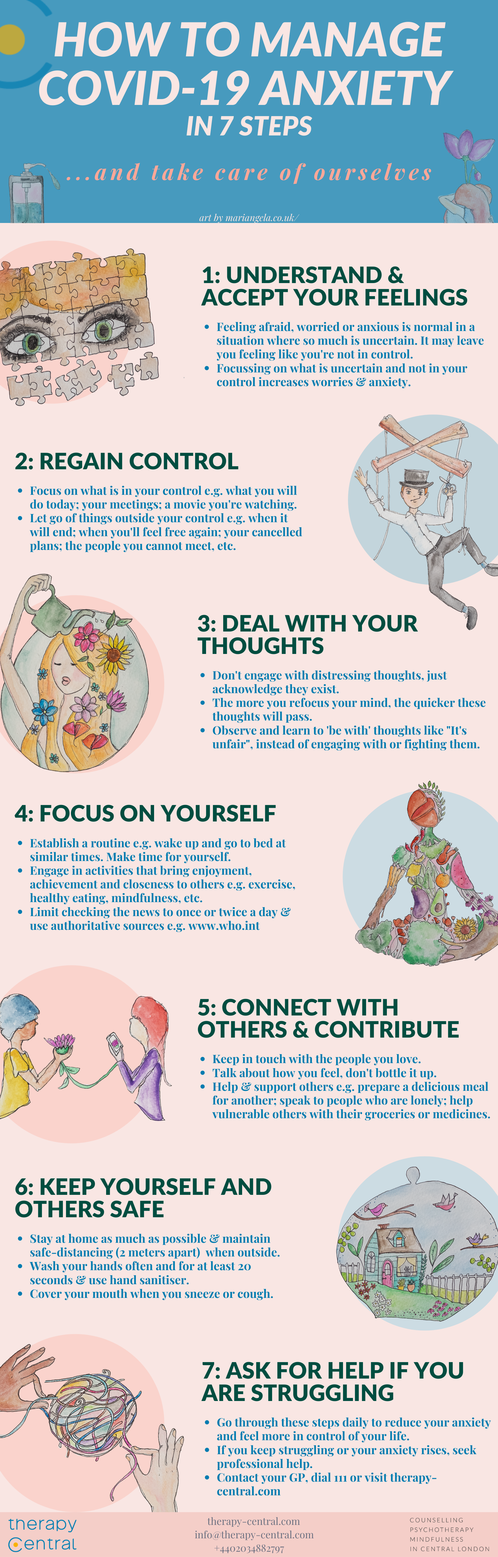 Infographic explaining 7 steps to manage covid-19 anxiety